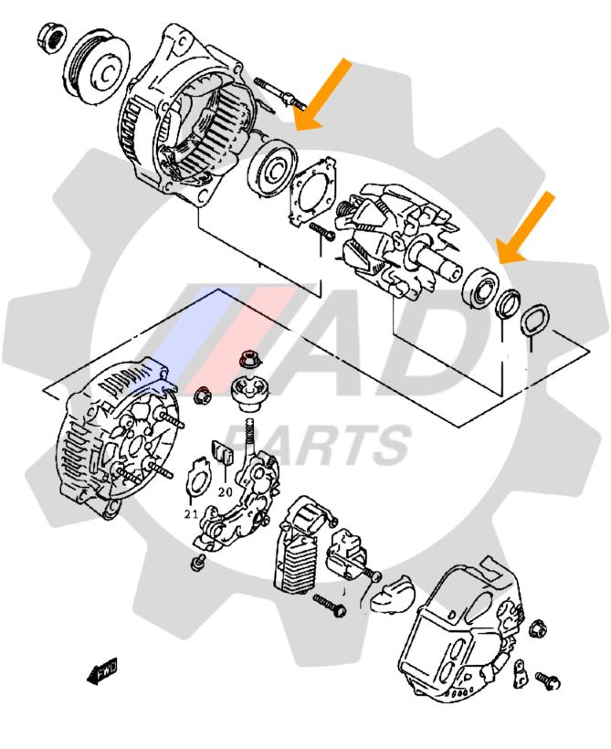 Rolamento de Alternador Subaru Impreza de 2008 até 2014