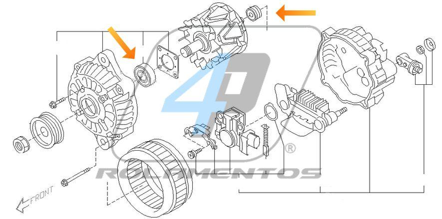 Rolamento de Alternador Subaru Tribeca de 2006 até 2014
