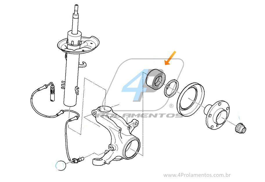 Rolamento de Roda Dianteira BMW 530xi 2005 até 2010, com ABS