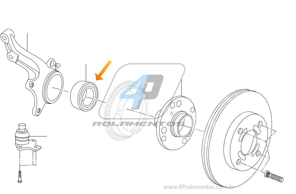 Rolamento de Roda Dianteira Chery Celer 2013 até 2018