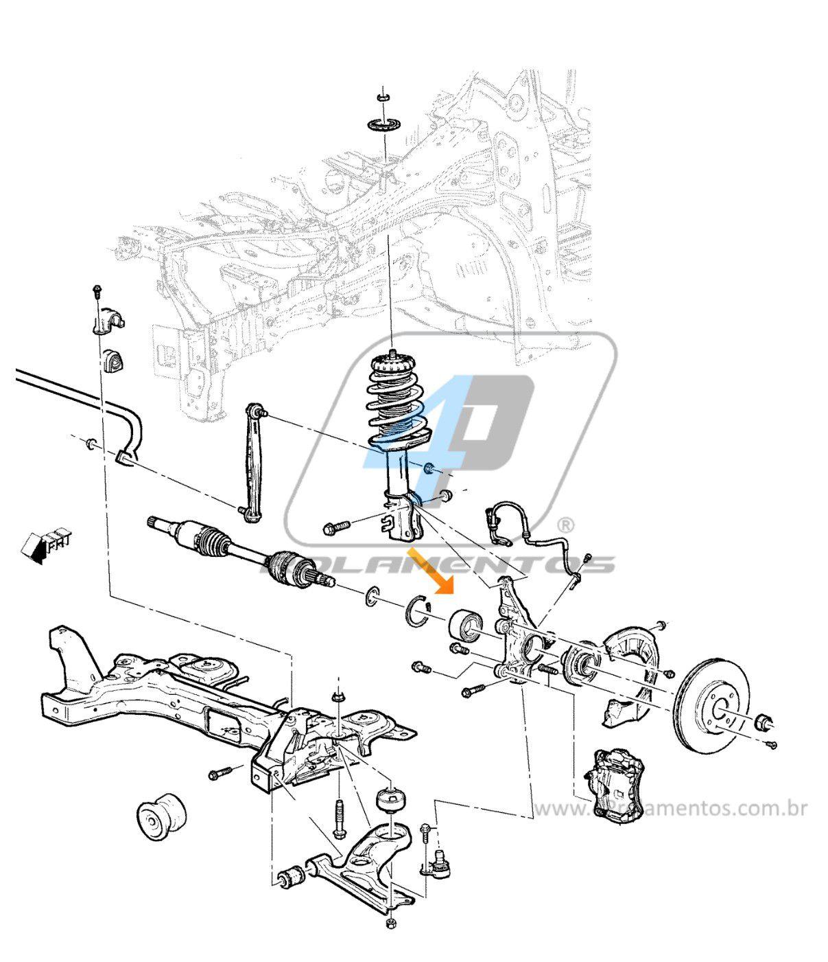 Rolamento de Roda Dianteira CHEVROLET Prisma 2012 até 2016