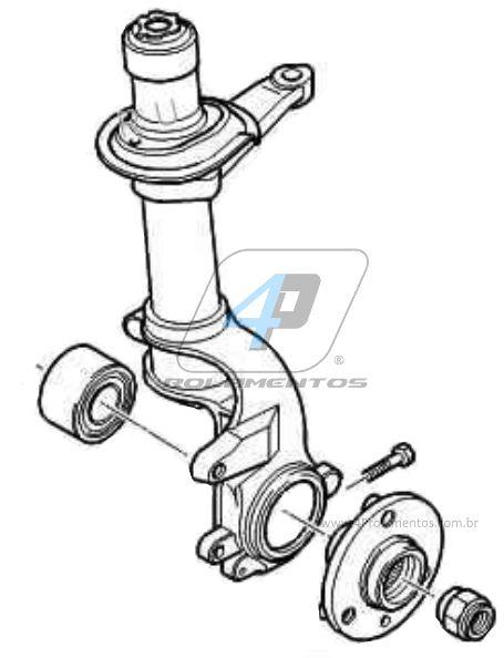 Rolamento de Roda Dianteira CITROEN AX 1992 até 1998, sem ABS