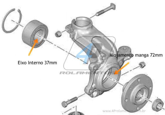 Rolamento de Roda Dianteira CITROEN C3 2002 até 2012, sem ABS