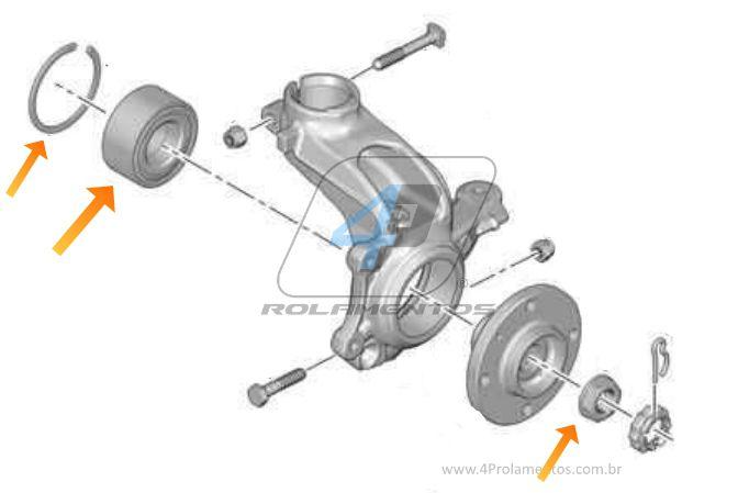 Rolamento de Roda Dianteira CITROEN C3 de 2002 até 2012, com ABS