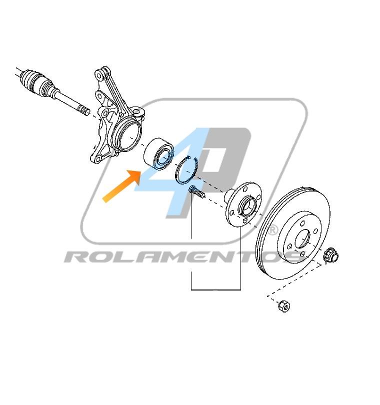 Rolamento de Roda Dianteira Daihatsu Terios 1997 até 2005