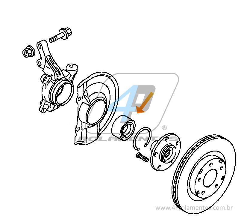 Rolamento de Roda Dianteira DODGE Caliber 2007 até 2012, com ABS