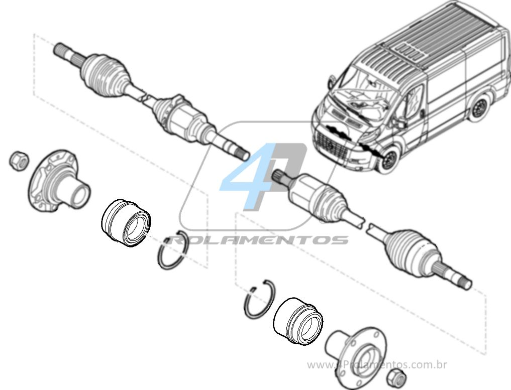 Rolamento de Roda Dianteira FIAT Ducato 1997 até 2017, aro 16