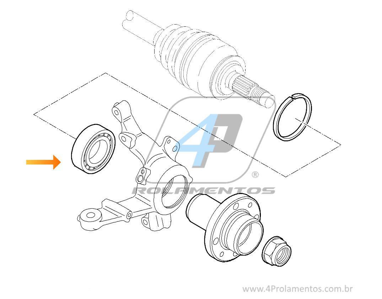 Rolamento de Roda Dianteira FIAT Grand Siena 2012 até 2018, com ABS