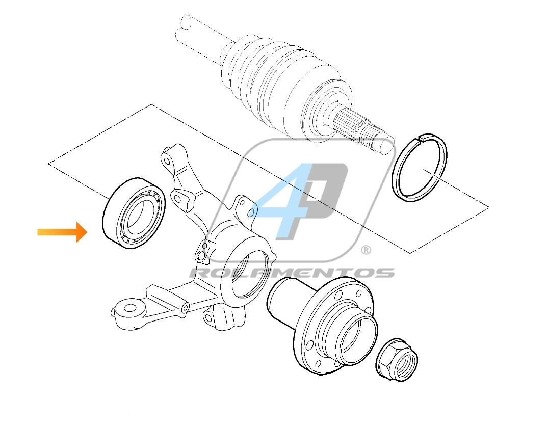 Rolamento de Roda Dianteira FIAT Marea (1.6L/1.8L) 1999 até 2007, sem ABS