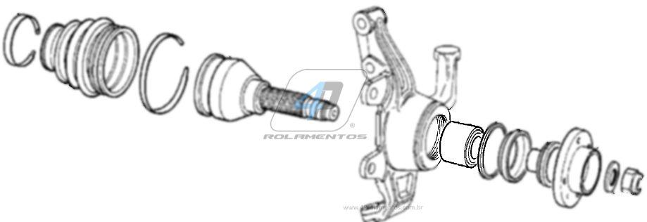 Rolamento de Roda Dianteira FIAT Pick até up 1977 até 1985