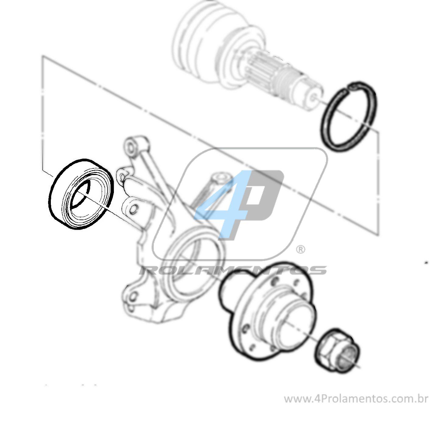 Rolamento de Roda Dianteira FIAT Strada 1998 até 2014 sem ABS