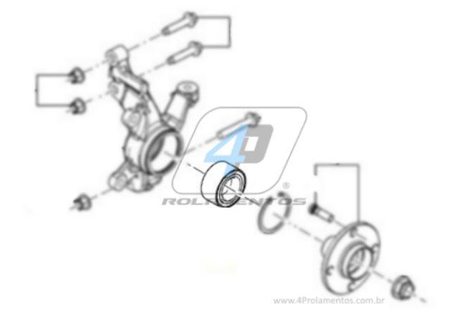 Rolamento de Roda Dianteira FORD Ecosport 2003 até 2013 sem ABS