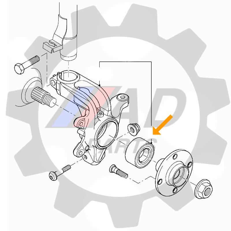 Rolamento de Roda Dianteira FORD Focus 1998 até 2008, com ABS