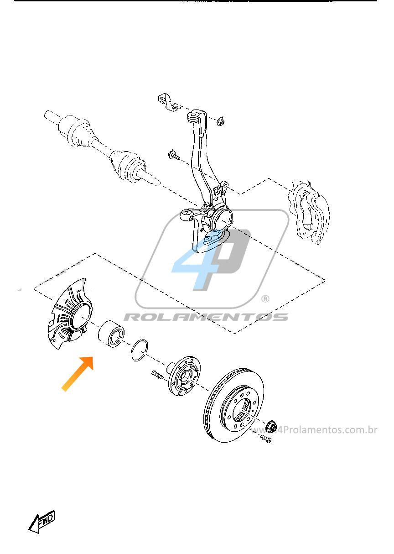 Rolamento de Roda Dianteira FORD Ranger 2013 até 2018, com e sem ABS.