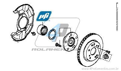 Rolamento de Roda Dianteira HONDA Accord 2008-2012, com ABS