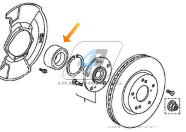 Rolamento de Roda Dianteira HONDA Civic (1.8L) 2006 até 2016, ABS