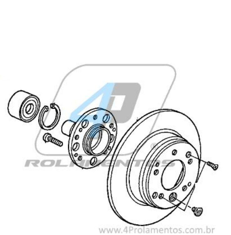 Rolamento de Roda Dianteira HONDA Fit 2002-2008, com ABS