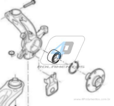 Rolamento de Roda Dianteira JAC J2 2012 até 2017