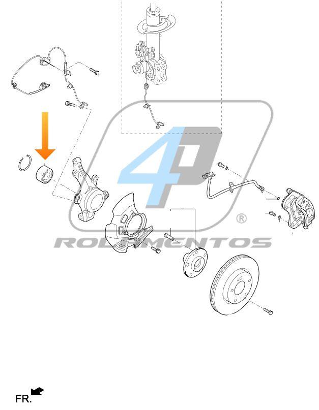 Rolamento de Roda Dianteira KIA Cadenza 2009 até 2015