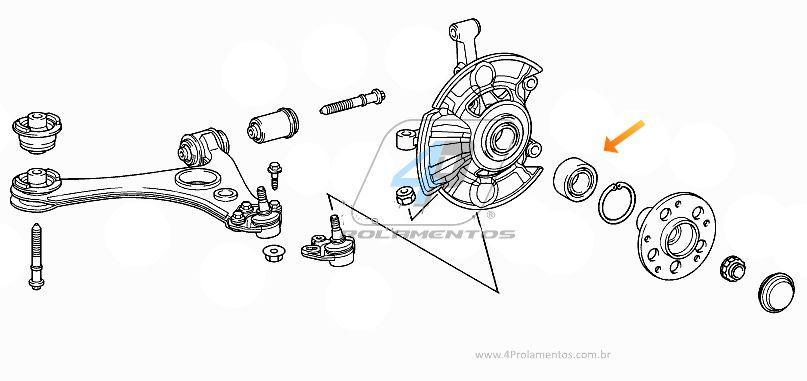 Rolamento de Roda Dianteira MERCEDES BENZ A190 1997 até 2005