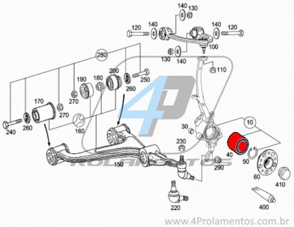 Rolamento de Roda Dianteira MERCEDES BENZ E350 2003 até 2009, 4Matic