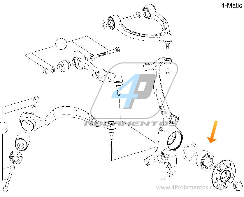 Rolamento de Roda Dianteira MERCEDES BENZ S350 2002 até 2005, 4matic