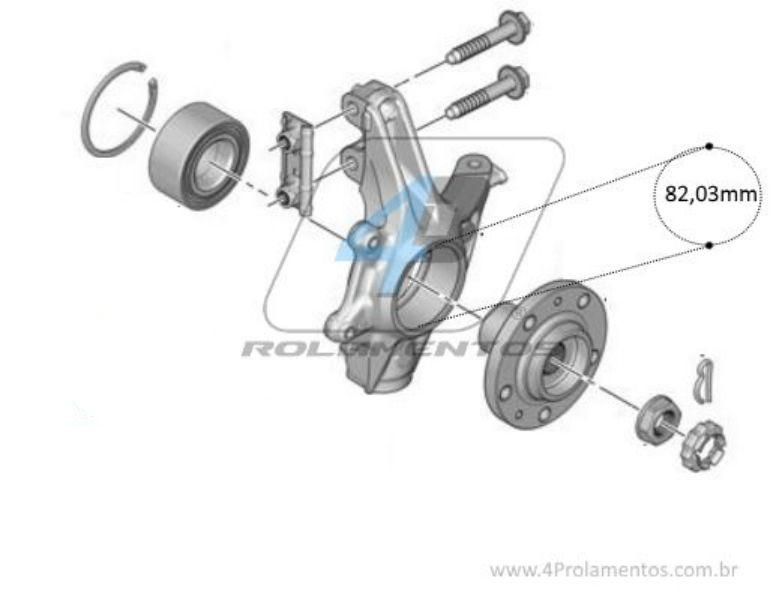 Rolamento de Roda Dianteira para PEUGEOT 208 (1.6L) 2013 até 2019 com ABS
