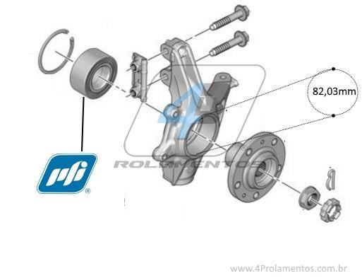 Rolamento de Roda Dianteira PEUGEOT 2008 2015-2019 com ABS, 82mm