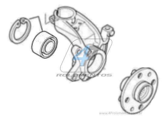 Rolamento de Roda Dianteira PEUGEOT 206 2001 até 2012 com ABS