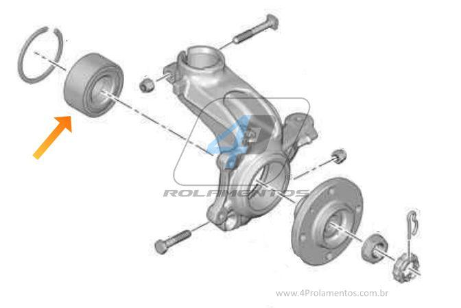 Rolamento Roda Dianteira PEUGEOT 208 (1.2L/1.5L) 2012 até 2019, ABS