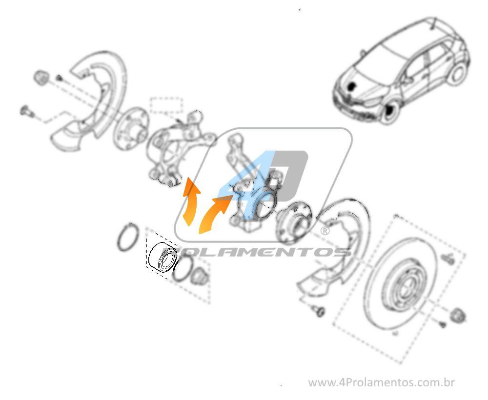 Rolamento de Roda Dianteira RENAULT Captur 2017 até 2019, com ABS