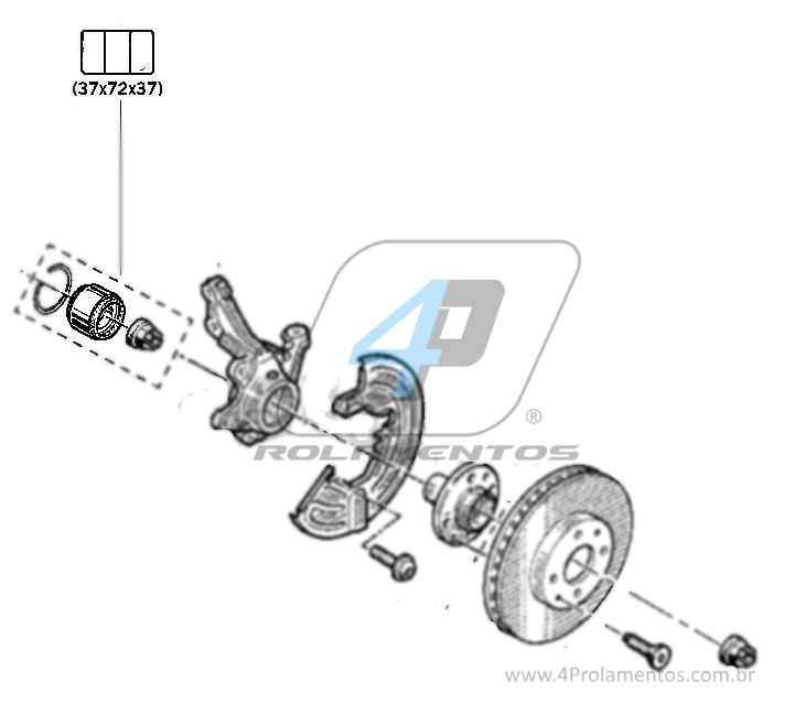 Rolamento de Roda Dianteira RENAULT Clio (1.6L) 1996 até 2016