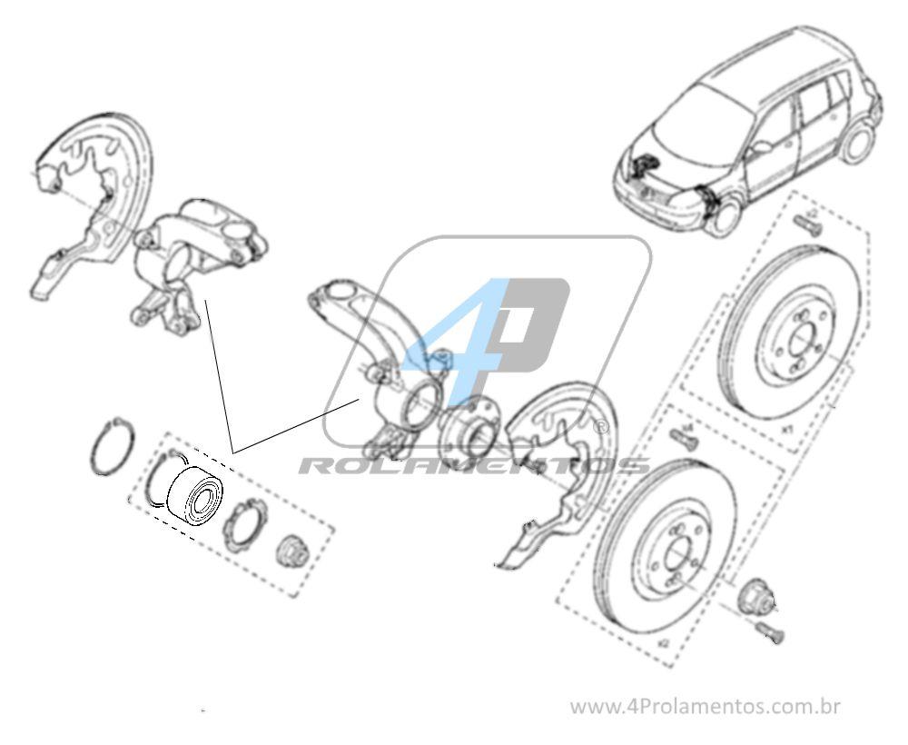 Rolamento de Roda Dianteira RENAULT Grand Scenic 2004-2009, com ABS