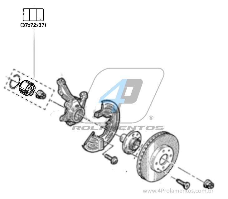 Rolamento de Roda Dianteira RENAULT Logan 2007 até 2014