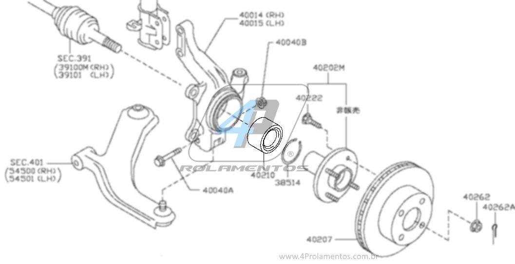 Rolamento de Roda Dianteira RENAULT Sandero 2007 até 2019, com ABS