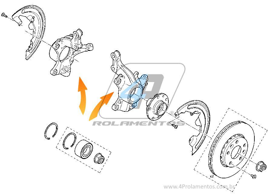 Rolamento de Roda Dianteira RENAULT Sandero 2007 até 2014, com ABS