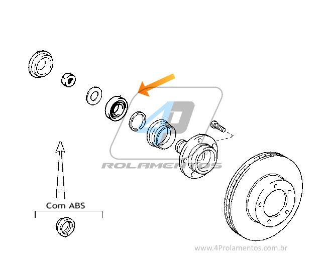 Rolamento de Roda Dianteira TOYOTA Hilux 2005 até 2020, 4x2