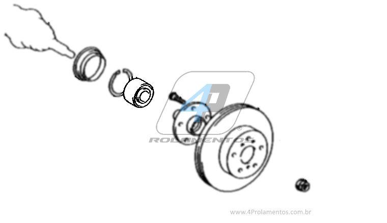 Rolamento de Roda Dianteira TOYOTA Sienna 2004 até 2010