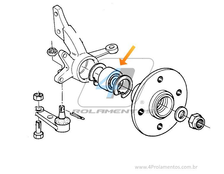 Rolamento de Roda Dianteira Volvo 440 e 460 de 1991 até 1995