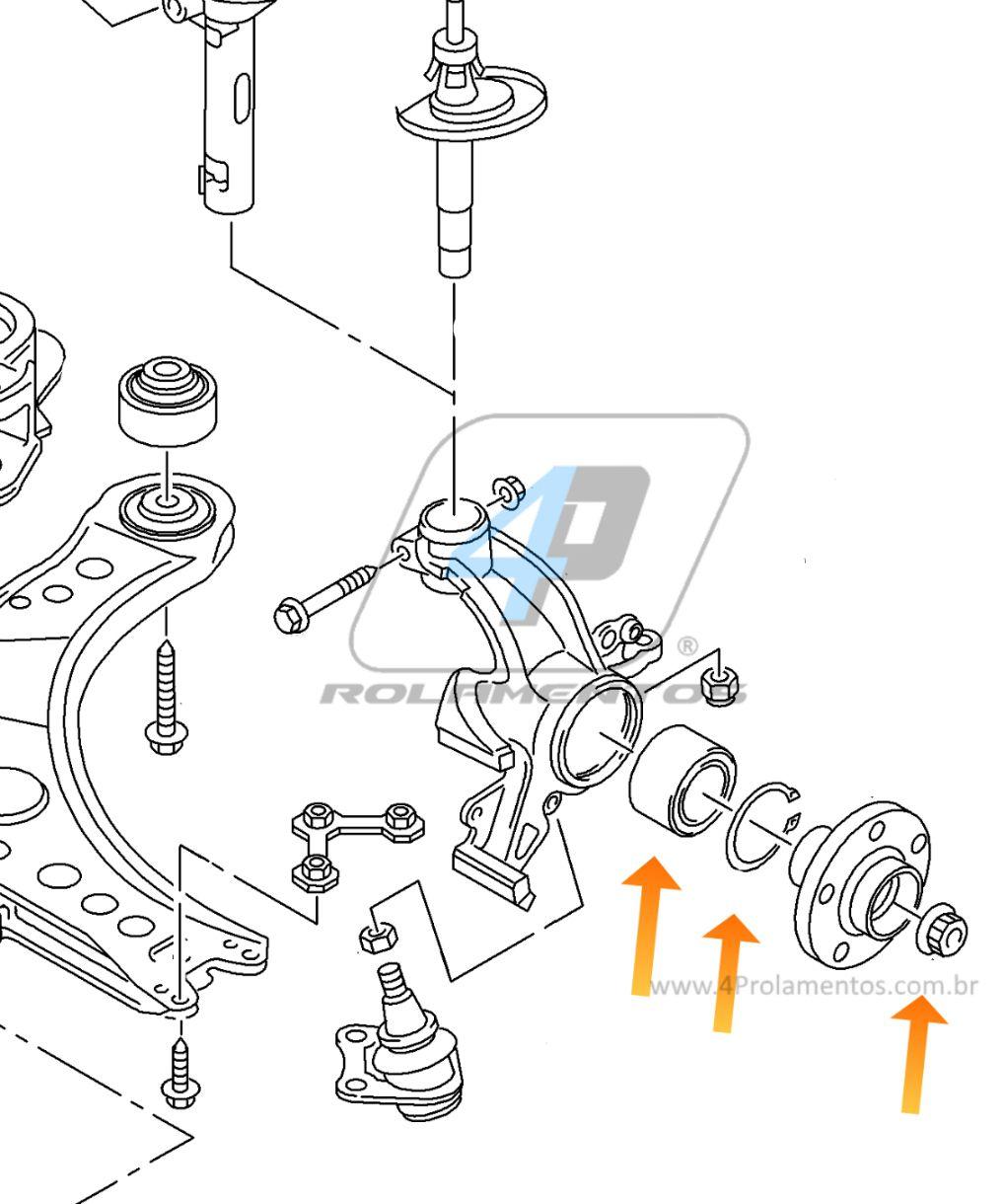 Rolamento de Roda Dianteira VW Golf 1997 até 2013 com kit reparo