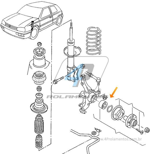 Rolamento de Roda Dianteira VW Golf 2000 até 2014