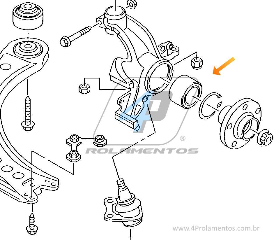 Rolamento de Roda Dianteira VW Parati 1995 até 2013, sem ABS