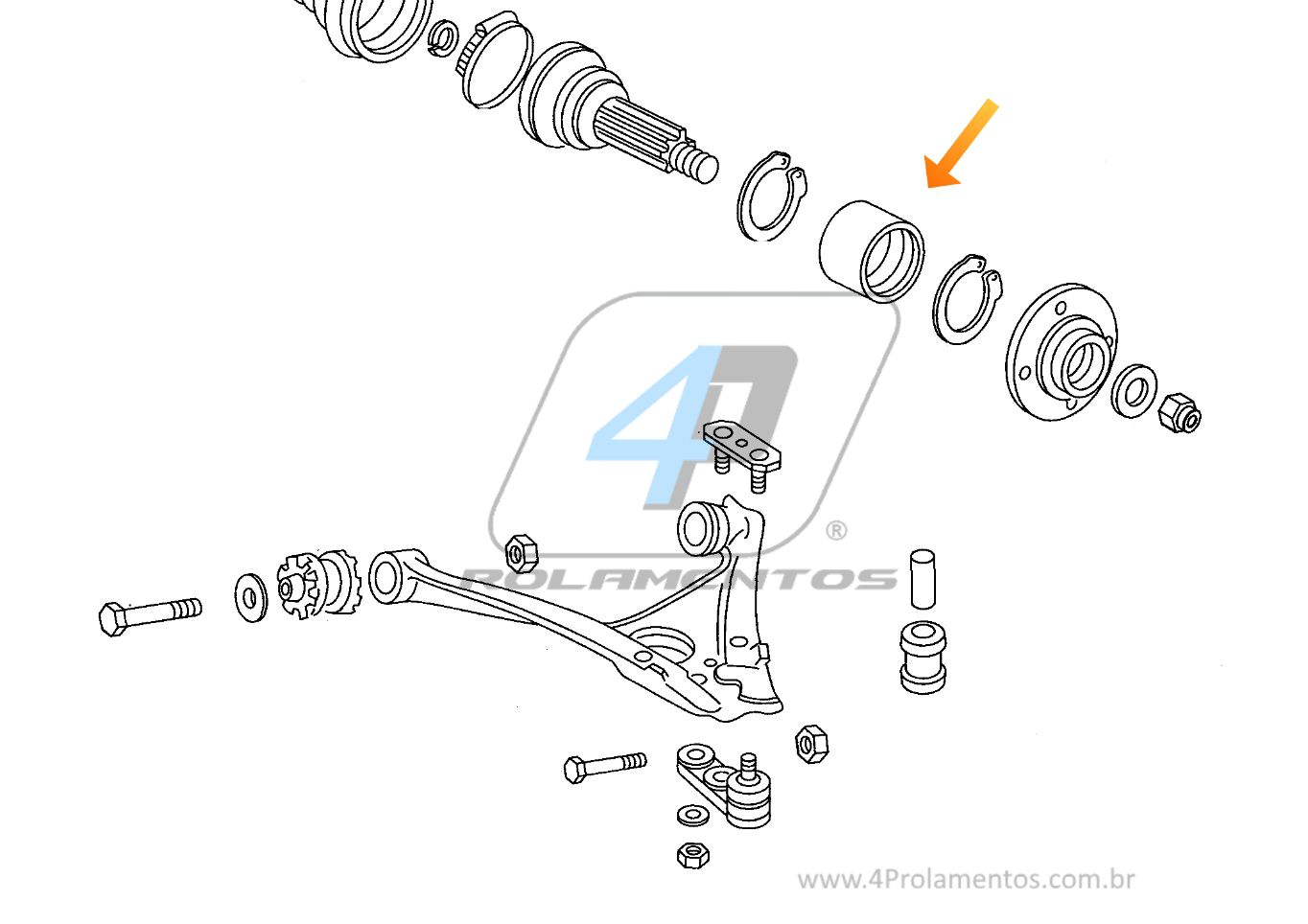 Rolamento de Roda Dianteira VW Quantum 1989 até 1994
