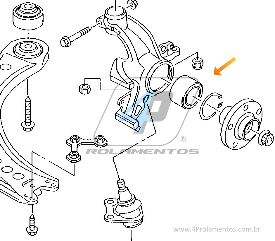 Rolamento de Roda Dianteira VW Saveiro 1994 até 2014, sem ABS