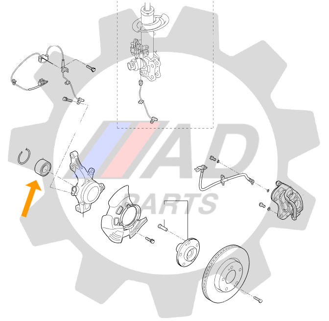 Rolamento de Roda Dianteiro FIAT Linea (1.9L/1.8L) 2009 até 2016 com ABS