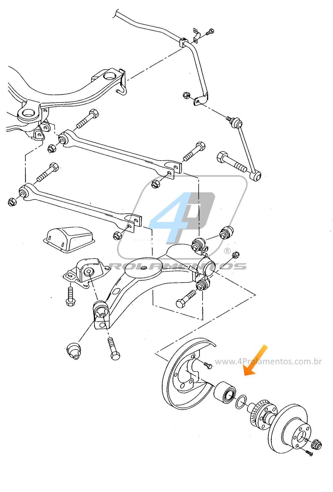 Rolamento de Roda Traseira AUDI A3 1996-2003 AWD