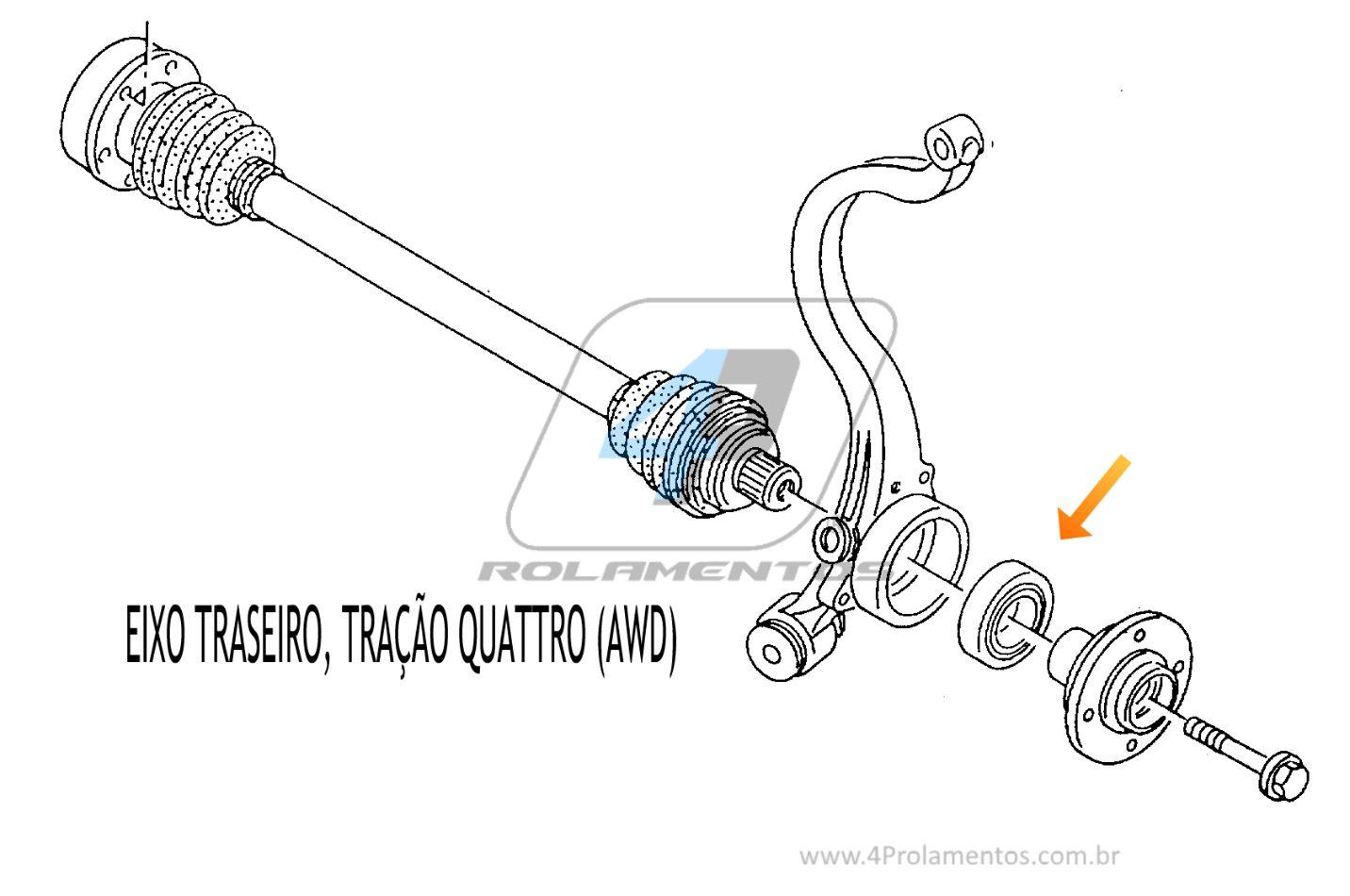 Rolamento de Roda Traseira AUDI RS4 2000 até 2001