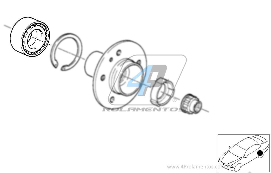 Rolamento de Roda Traseira BMW 323ti/323i 1995 até 1998 com freio a disco