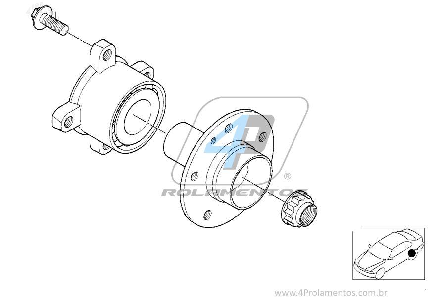 Rolamento de Roda Traseira BMW X5 2007 até 2017 com ABS