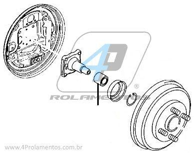 Rolamento de Roda Traseira FORD Focus 1998 até 2008, sem ABS, freio a tambor.